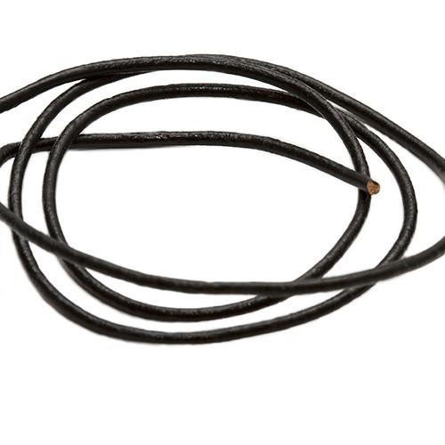 Lederband echt Leder glatt schwarz 1,5mm 2m lang