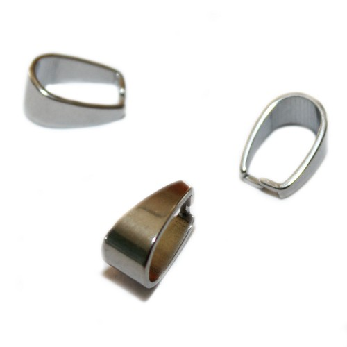 Metallperle Edelstahl Anhängerschlaufe Collierschlaufe silber 13x9mm 3Stk.