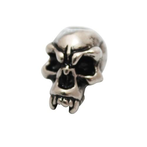 Metallperle Schädel Totenkopf Skull Vampir Großloch antiksilber groß 18x13mm 1Stk.