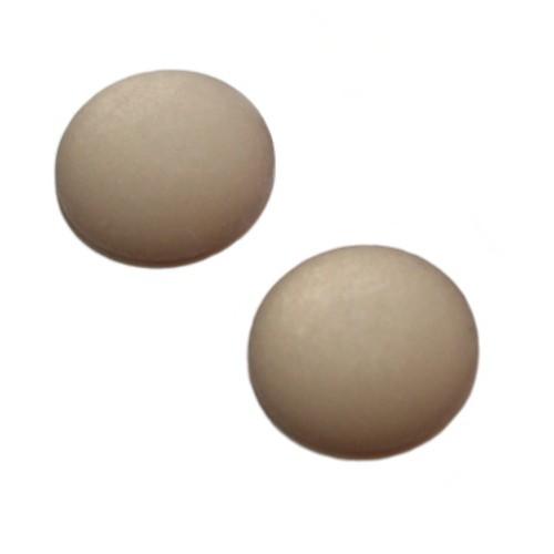 Cabochon Polaris rund flach matt grau 20mm 2 Stück