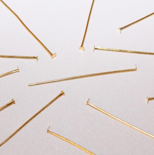Nietstifte/Kettelstifte/Prismenstifte mit Flachkopf vergoldet 45x0,7mm 50Stk.