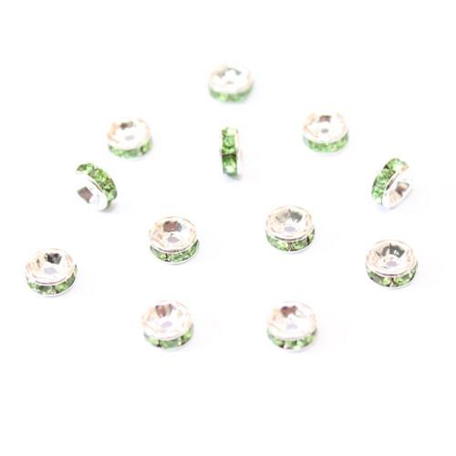 Metallperle Spacer Rondelle versilbert mit Strass grün 6mm 10Stk.