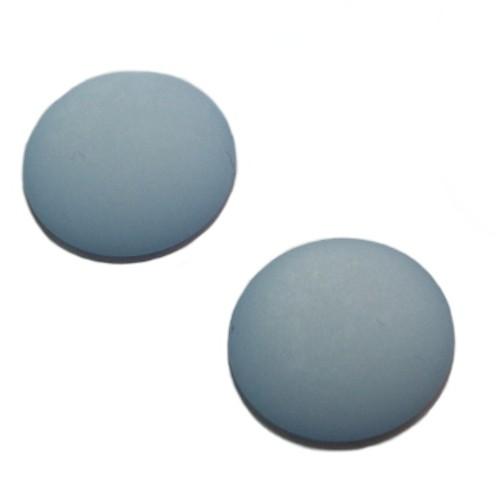Cabochon Polaris rund flach matt himmel - blau 20mm 2 Stück