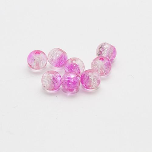 Glasperle Kugel Crackle glatt rosa und weiß 6mm 30Stk.