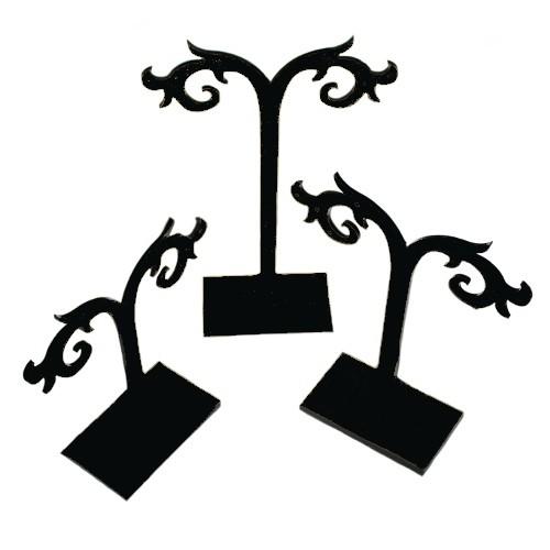 Schmuckständer Ohr Stecker 3 Stück 12cm,10cm, 8cm schwarz Acryl