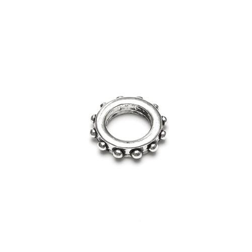 Metallperle Spacer Charms Ring Punkte Antiksilber Großloch 13x3mm 10Stk.