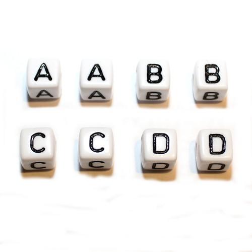 Buchstaben Würfel Acryl weiß mit schwarzen Buchstaben 10x10mm Großloch 2x26=52Stk.