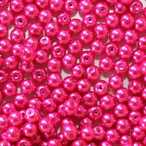 Glasperle Wachsperle Kugel glatt pink glänzend 6mm 60Stk.