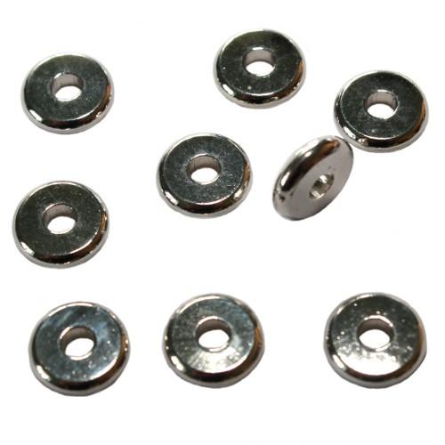 Metallperle Spacer Scheibe flach silber 10x2,5mm 10Stk.