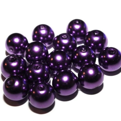 Glas Wachsperle Kugel glatt violett glänzend 14mm 15Stk.