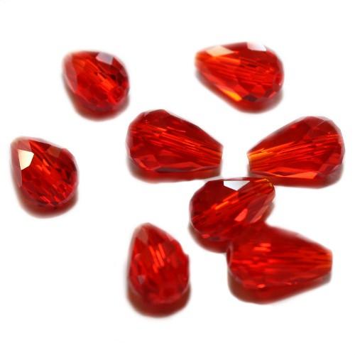 Kristall Glas Tropfen rot Klar 13 x 8 mm 8Stk.