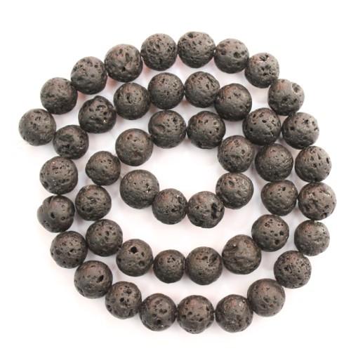 Lavaperlen natürlich (echt !) schwarz 8-9 mm 1Strang (46Stk.)