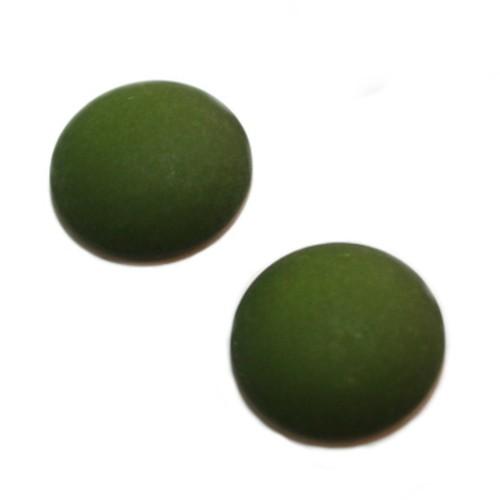 Cabochon Polaris rund flach matt moos grün 20mm 2 Stück