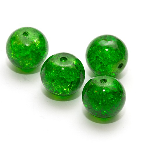 Glasperle Crackle Kugel glatt grün 12mm 10Stk.