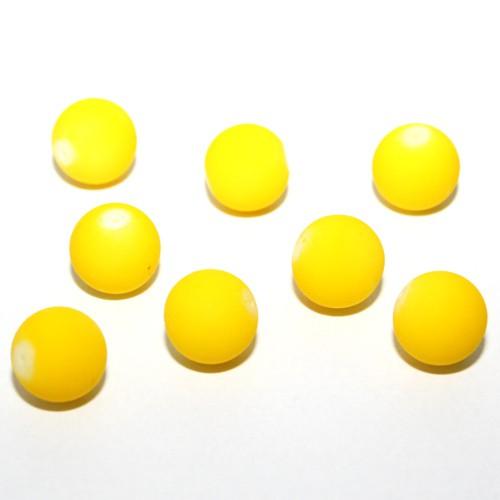 Glasperle Kugel gummiert gelb 16mm 10Stk.
