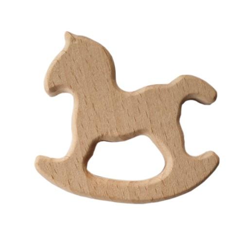 Buchen Holz Schnullerkette Schaukel Pferd braun 1Stk.