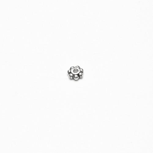 Metallperle Spacer Rad Blume flach Antiksilber 4x2mm 50Stk.