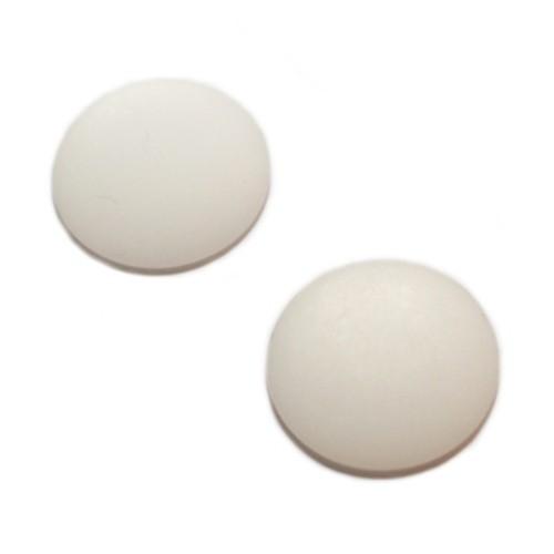 Cabochon Polaris rund flach matt weiß 20mm 2 Stück