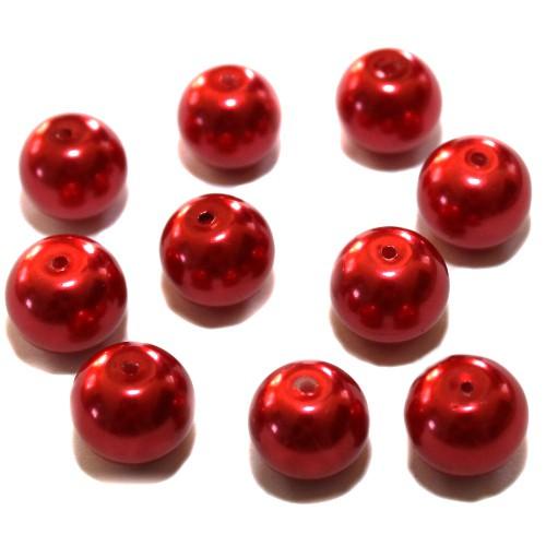 Glasperle Wachsperle Kugel glatt rot glänzend 12mm 10Stk.