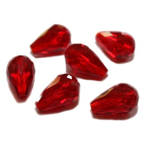 Kristall Glas Tropfen rot Klar 15 x 10 mm 6Stk.