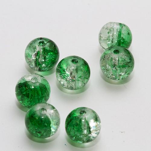 Glasperle Crackle Kugel glatt grün und weiß 8mm 30Stk.