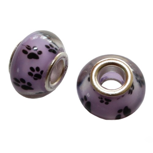 Charms Glas Silber transparent Katze Hund Bär violett mit schwarzer Pfote Tatze 14x10mm 2Stk.