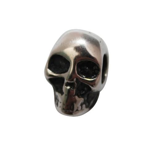Edelstahl Metallperle Schädel Totenkopf Skull Großloch antiksilber 17,5x11,5mm 1Stk.