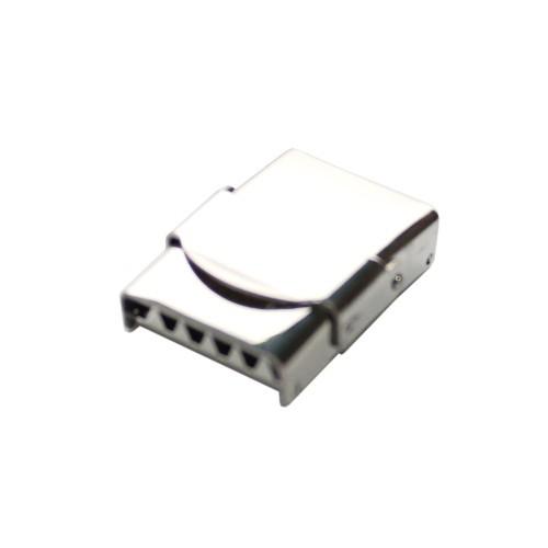 Edelstahl Steckverschluß mit Sicherung verstellbar silber 25x20mm 1Stk.