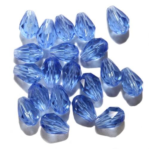 Kristall Glas Tropfen blau 7 x 5 mm 20Stk.