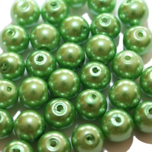 Glasperle Wachsperle Kugel glatt grün glänzend 8mm 30Stk.