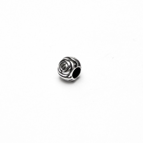 Acrylperle in Metalloptik Spacer Kugel Blume Großloch Antiksilber 7x6mm 10Stk.