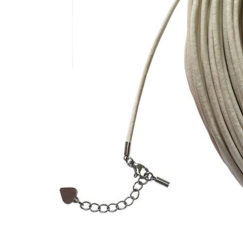 Hals/Arm Band Leder weiß 2mm 54cm kürzbar inkl. Ketterl Edelstahl 1Stk,