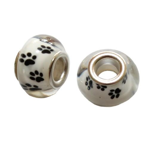 Charms Glas Silber transparent Katze Hund Bär weiß mit schwarzer Pfote Tatze 14x10mm 2Stk.