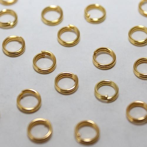 Federring Spaltring Biegering Bindering offen vergoldet 4,9mm 100Stk.