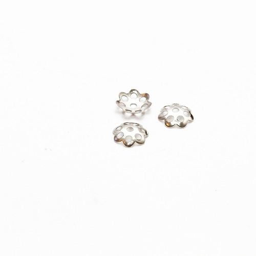 Endkappe Perlenkappe Metall Silber 6mm 200Stk