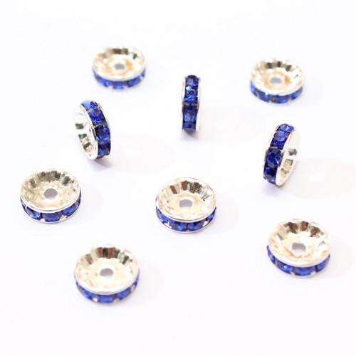 Metallperle Spacer Rondelle versilbert mit Strass blau 10mm 10Stk.