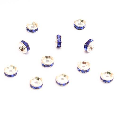Metallperle Spacer Rondelle versilbert mit Strass blau 6mm 10Stk.