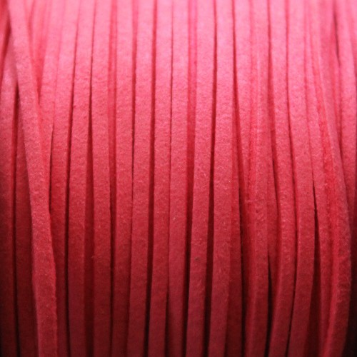 Wildlederimitat weich flach 3x1,5mm Microfaser dunkel pink 5 m lang
