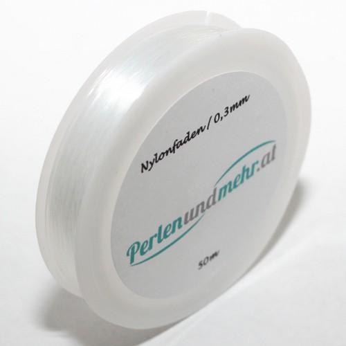 Schmuckdraht Nylonfaden weiß 0,3mm 50m lang