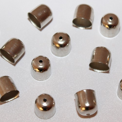 Metallperle Endkappe Spacer Großloch silber 11x10mm 10Stk.