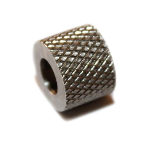 Metallperle Edelstahl Tube silber Muster Großloch 9x12mm 1Stk.