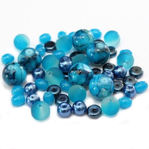 Glasperlen Mix 2 Farbton Blau 50 g