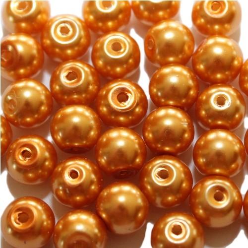 Glasperle Wachsperle Kugel glatt orange glänzend 8mm 30Stk.