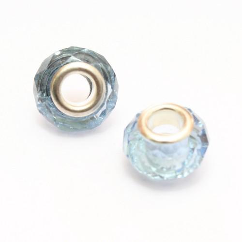 Charms Kristall - Glas facettiert hellblau transparent glänzend 14x10mm 2Stk.