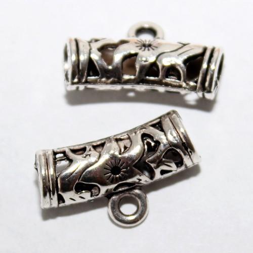 Metallperle Anhängerschlaufe Tube mit Öse Muster Großloch Antiksilber 22x7mm 2Stk.