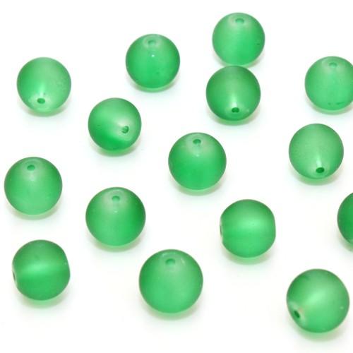 Glasperle Kugel matt gefrostet grün 12mm 10Stk.