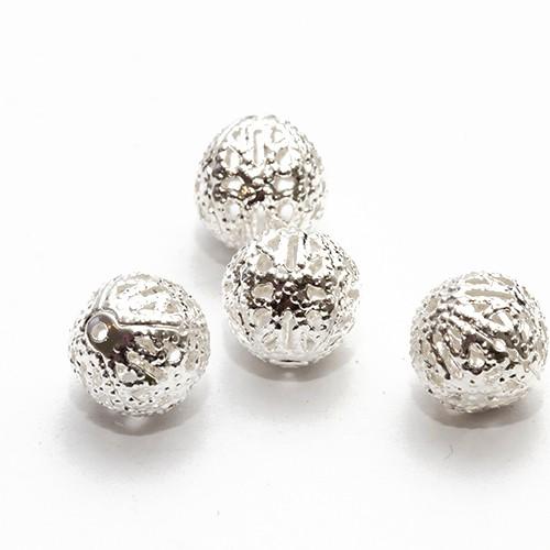 Metallperle Spacer Kugel filigran silber mit Diamanteffekt (tussi-silber) 10mm 20Stk.