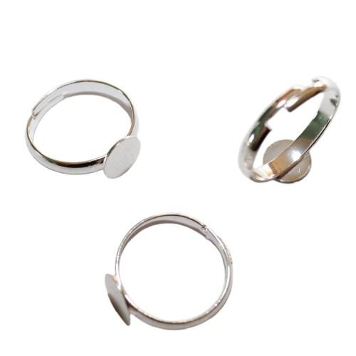 Ring verstellbar 17 - 21mm Träger Link Platte Cabochon versilbert für ab 8mm 3 Stück