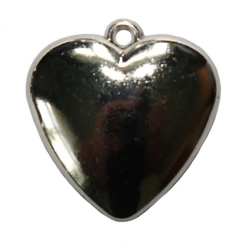 Acrylperle in Metalloptik Anhänger Herz Tracht silber 31x32mm 1Stk.