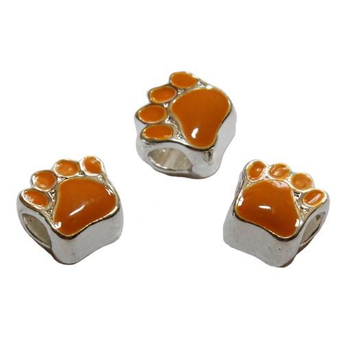 Metallperle Charms großloch versilbert Bär Katze Hund m.Tatze Pfote emailliert orange 11x9m 3 Stk.